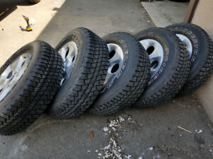 Jeep wrangler   rims and tires  (×5)  OEM, aluminum