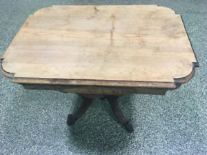 Antique Carved Wood Table Wheel Rustic Solid Design Farm Country