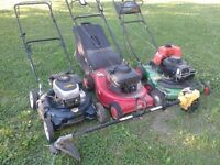 3 Lawnmowers and weedeater