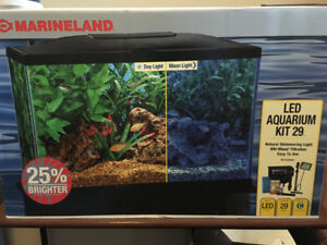 Marineland 29 gallon fish tank with  blackstand