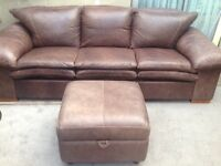 Light brown Real Leather DFS 3 seater 1 seater and storage footstool