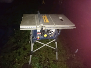 "Ryobi rts21 10"" table saw with folding stand"