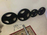 Olympic bar + 170 lbs rubber coated Olympic plates