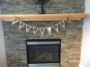 Burlap Candy Bar Banner (Weddings, Parties, Baby Shower)