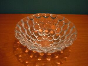 Vintage Mid Century Orrefors 7'' Raspberry Bubble Bowl Signed