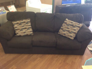 Aluria Chocolate Sofa and Love Seat