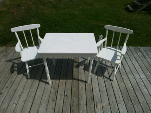 Childs white table and chair set