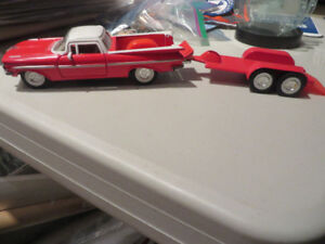 1959 Chevy El Camino and Motorcycle Trailer-Rare Tootsie Toys
