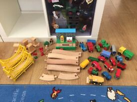 Wooden brio track, petrol station, bridges, and vehicles bundle
