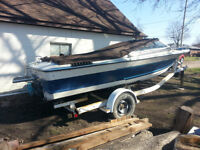 Great project boat for parts or rebuild with trailer