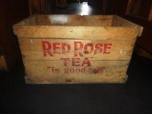 Vintage Rare Extra large Red Rose Tea Crate St. John's Newfoundland image 3