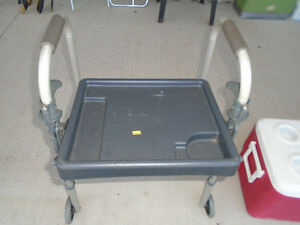 Adjustable walker with serving tray