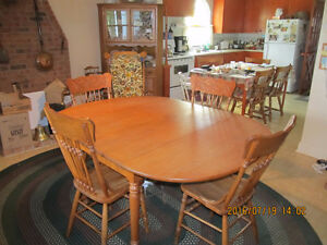 Solid Oak Dining table,7 matching chairs,Vintage China Cabinet