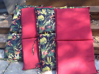 4 OUTDOOR  REVERSIBLE PATIO CUSHIONS