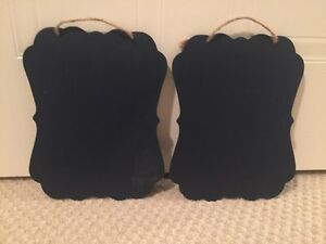 Set of 2 hanging chalkboard signs