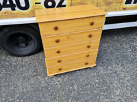 Tall Pinewood chest of drawers £65