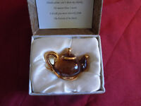 Mini Amber Glass Teapot in Quilted Gift Box