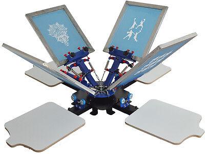 Silk 4 Color 4 Station Fix On Table Screen Printing Machine Tshirt Diy Equipment