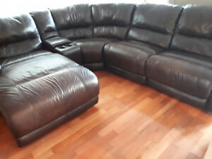 Sectional sofa 100% leather with chaise lounge.  Obo.