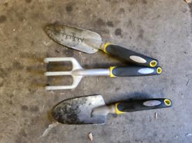 Garden hand tools trowel fork