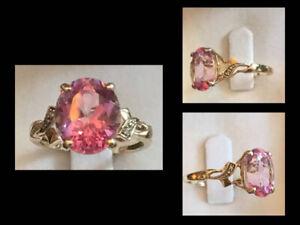 10k YG PINK SAPPHIRE & DIAMOND RINGS $135 ea ~ Both/$250
