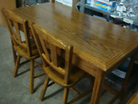 Beautiful All Wood Table with Two Chairs