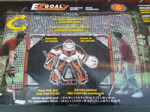 EZ Goal Hockey Net with Backstop and Shooter Tutor