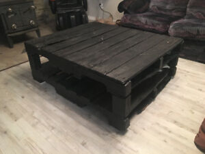 Skid Coffee Table, End Table and 2 Shelves