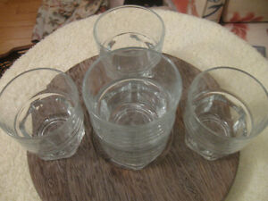 SET of FIVE CLEAR GLASS JUICE / DRINK TUMBLERS from FRANCE