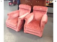 A pair of beautiful original Victorian armchairs.