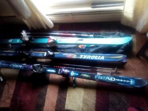 3 pairs of skis with bindings, Tyrolia, Cyber Head and Rossignol