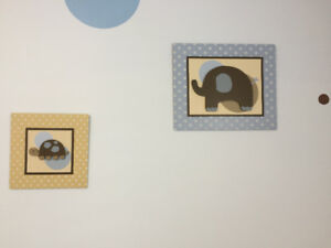 Pictures and lamp for nursery