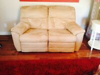 Suede recliner 2 seater - perfect condition