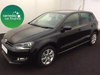 £189.56 PER MONTH BLACK 2013 VW POLO 1.4 MATCH DSG 5 DOOR PETROL AUTOMATIC