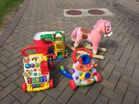 2 baby walkers, 1 car park , 1 rocking horse, all for £20