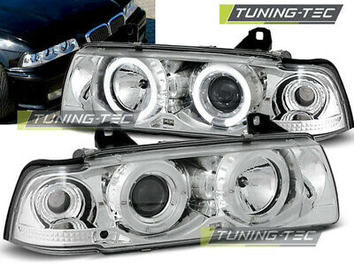 Scheinwerfer Set 3er E36 Bj 90-99 Coupe Cabrio klarglas//chrom Angel Eyes