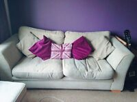 2x cream sofas for sale 3 + 2 and pouffe