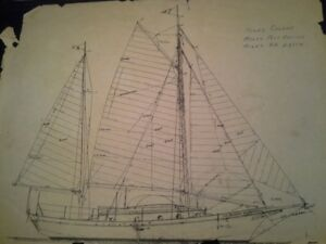 full set of Ketch sails from boat in photos