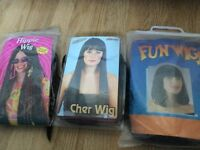 3 dressing up wigs Cher, hippie and black bob