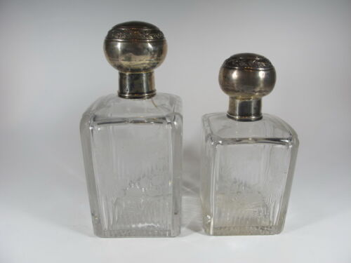 19th C French silver & crystal bottles # 456