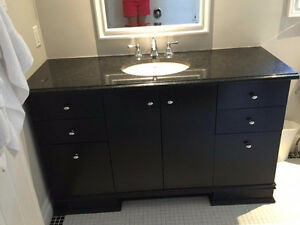 "54"" inch bathroom cabinet with granite countertop"