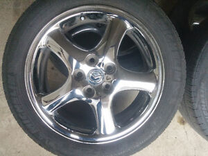 Mazda 3-6 Mags crome & Tire 215-50-17, Bolt pattern 5x114.3