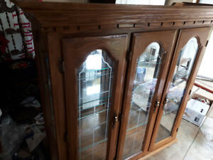 China Cabinet/Display Case -Solid Golden Wood  Cabinet