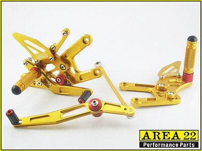 2006 2014 <em>YAMAHA</em> YZF R6 AREA 22 CNC ADJUSTABLE REAR SETS GOLD REARSET