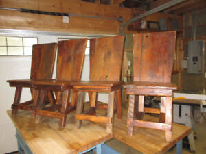 Rustic wooden chairs