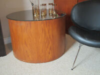 Mid century Teak drum coffee table with tinted mirror top