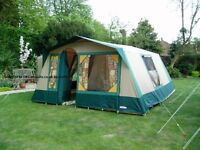 Cabanon Athena frame tent and electric hookup.