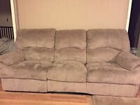 Reclining suede couch $300 O.B.O