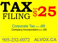 Tax Filing $25 , Company Incorporation $50, Corporate Tax $99
