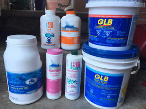 Pool chemicals and pump